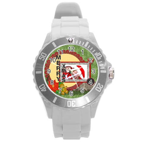 Merry Christmas By Debe Lee   Round Plastic Sport Watch (l)   Ms9bjzjk7pbf   Www Artscow Com Front