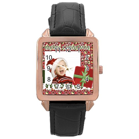 Merry Christmas By Man   Rose Gold Leather Watch    Ctwmk59n4xep   Www Artscow Com Front