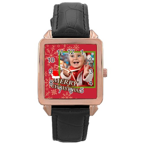 Merry Christmas By Man   Rose Gold Leather Watch    S0neuw0824ko   Www Artscow Com Front