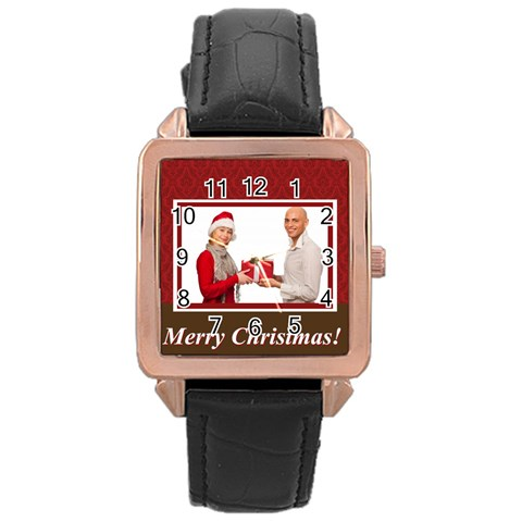 Merry Christmas By Man   Rose Gold Leather Watch    Uw04k2ve9pi8   Www Artscow Com Front