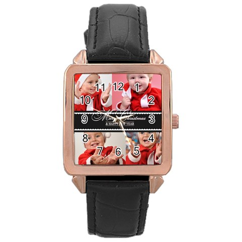 Merry Christmas By Man   Rose Gold Leather Watch    Ropbhbgbha6t   Www Artscow Com Front