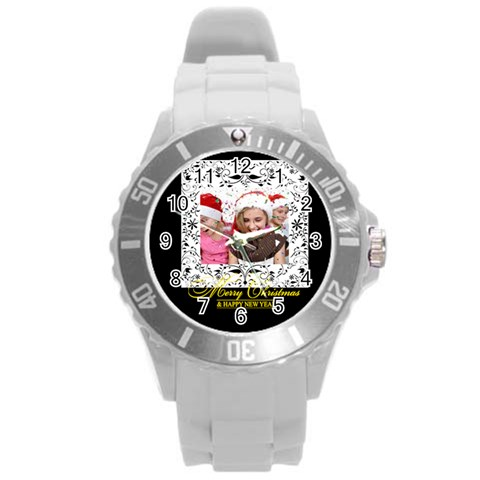 Merry Christmas By M Jan   Round Plastic Sport Watch (l)   93b1s5bwg9sz   Www Artscow Com Front
