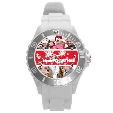 Merry Christmas By M Jan   Round Plastic Sport Watch (l)   Ct6bxab440a9   Www Artscow Com Front