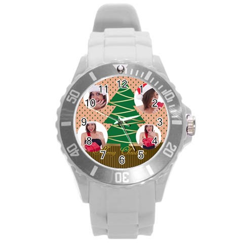 Merry Christmas By M Jan   Round Plastic Sport Watch (l)   N5kgkzfl0oke   Www Artscow Com Front