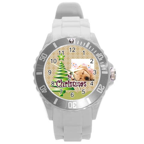 Merry Christmas By M Jan   Round Plastic Sport Watch (l)   Lfuxlq5qihnb   Www Artscow Com Front