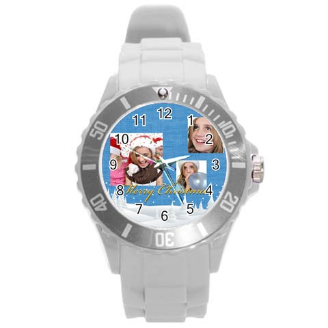 Merry Christmas By M Jan   Round Plastic Sport Watch (l)   Fvyw084i782r   Www Artscow Com Front