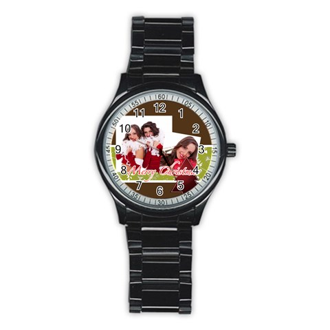 Mery Christmas By Angena Jolin   Stainless Steel Round Watch   8kxiqg9f6ipc   Www Artscow Com Front