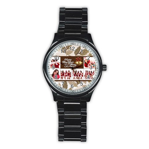 Mery Christmas By Angena Jolin   Stainless Steel Round Watch   J2x2vt1y30q6   Www Artscow Com Front