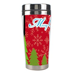 Merry Christmas By M Jan   Stainless Steel Travel Tumbler   872jc2qbhl4i   Www Artscow Com Left