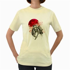 Undead Samurai  Womens  T-shirt (Yellow) by Contest1731890