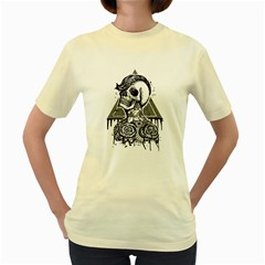 Skull & tattoo  Womens  T-shirt (Yellow) by Contest1731890