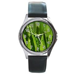 Grass Drops Round Leather Watch (silver Rim) by Siebenhuehner