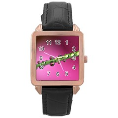 Drops Rose Gold Leather Watch  by Siebenhuehner