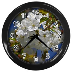 Cherry Blossom Wall Clock (black) by Siebenhuehner