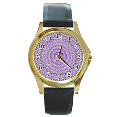 Mandala Round Leather Watch (gold Rim)  by Siebenhuehner