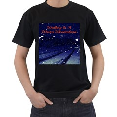 Walking In A Winter Wonderland Mens' Two Sided T-shirt (Black) by Contest1797140