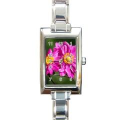 Flower Rectangular Italian Charm Watch by Siebenhuehner