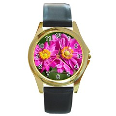 Flower Round Leather Watch (gold Rim)  by Siebenhuehner