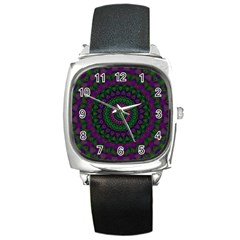 Mandala Square Leather Watch by Siebenhuehner