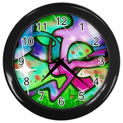 Graffity Wall Clock (black) by Siebenhuehner