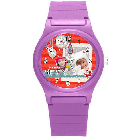 Merry Christmas By Merry Christmas   Round Plastic Sport Watch (s)   8y3dlolr05om   Www Artscow Com Front
