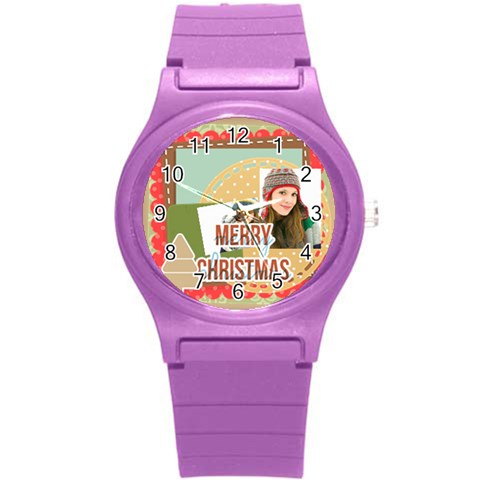 Merry Christmas By Merry Christmas   Round Plastic Sport Watch (s)   Buccgl4l6zjs   Www Artscow Com Front