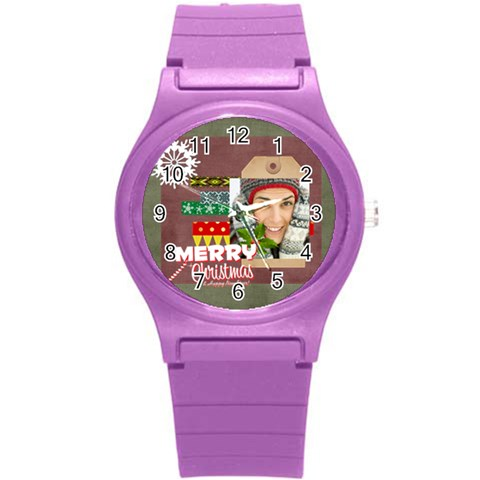 Merry Christmas By Merry Christmas   Round Plastic Sport Watch (s)   Ewwy40y42dbs   Www Artscow Com Front