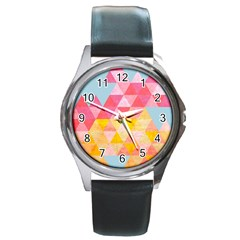 Pastel Triangles Round Leather Watch (silver Rim) by ILANA