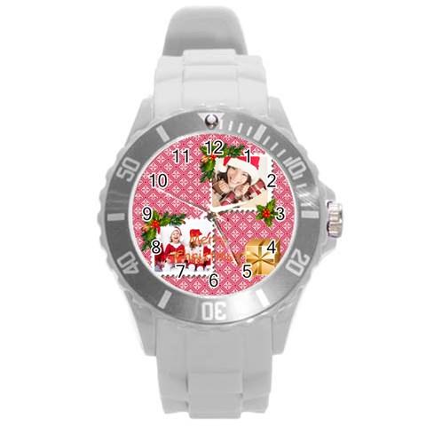 Merry Christmas By Xmas   Round Plastic Sport Watch (l)   A6sdzf6bjoju   Www Artscow Com Front