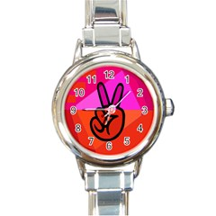 Love Peace Round Italian Charm Watch by Contest1720187