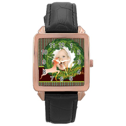 Merry Christmas By Man   Rose Gold Leather Watch    D876i9kvbezr   Www Artscow Com Front