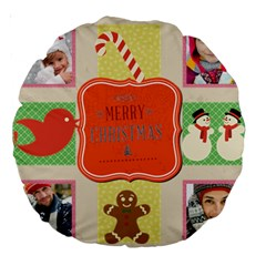 Merry Christmas By Merry Christmas   Large 18  Premium Round Cushion    Q1b0irl6nu5h   Www Artscow Com Front