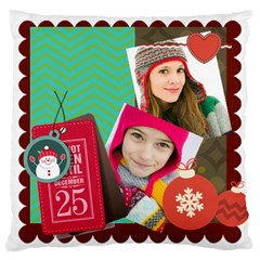 Merry Christmas By Merry Christmas   Large Cushion Case (two Sides)   Ja6wwyj1o2ju   Www Artscow Com Front