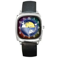 Fishing Dead Square Leather Watch by Contest1763580