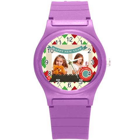 Merrry Christmas By Joely   Round Plastic Sport Watch (s)   X7of6zxs4g9r   Www Artscow Com Front