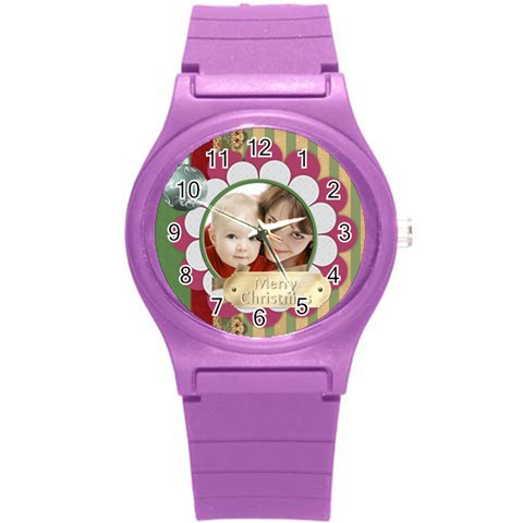 Merrry Christmas By Joely   Round Plastic Sport Watch (s)   Erqnryj3nofe   Www Artscow Com Front