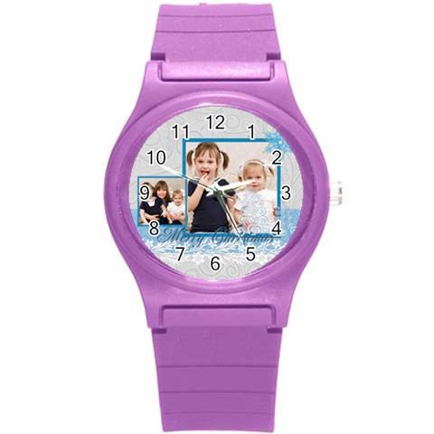 Merrry Christmas By Joely   Round Plastic Sport Watch (s)   Z8ij0ru7khq4   Www Artscow Com Front