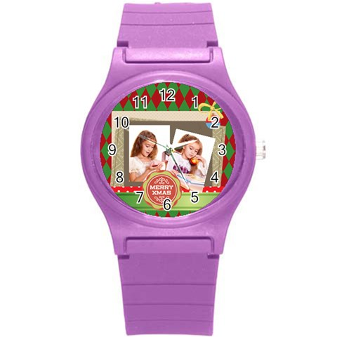 Merrry Christmas By Joely   Round Plastic Sport Watch (s)   93xoqm9mhwhc   Www Artscow Com Front