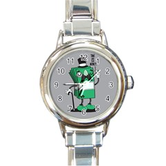Don t waste your time... Round Italian Charm Watch by Contest1771648