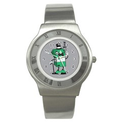 Don t waste your time... Stainless Steel Watch (Slim) by Contest1771648