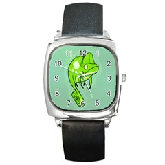 Lucky Lizard Square Leather Watch by Contest1780262