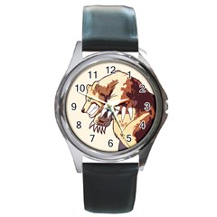 Bear Time Round Leather Watch (silver Rim) by Contest1780262