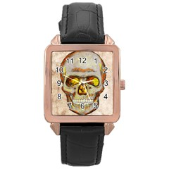 Warm Skull Rose Gold Leather Watch  by Contest1775858