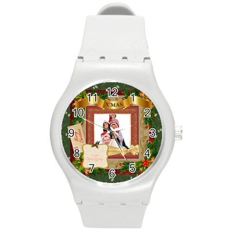 Merry Christmas By Betty   Round Plastic Sport Watch (m)   Npr2ydsb8xtm   Www Artscow Com Front