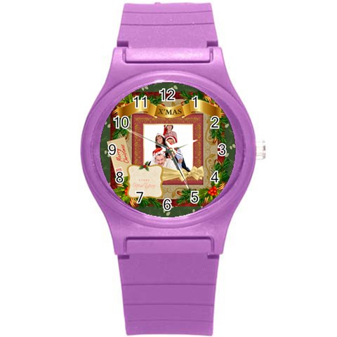 Merry Christmas By Betty   Round Plastic Sport Watch (s)   Jghoxyeh5wfz   Www Artscow Com Front