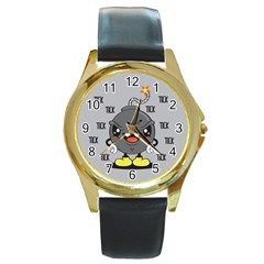 Time Bomb Round Leather Watch (gold Rim)  by Contest1771648