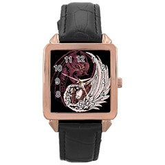 Yinyang Rose Gold Leather Watch  by DesignsbyReg2