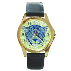 Cheetah Alarm Round Leather Watch (gold Rim)  by Contest1738807