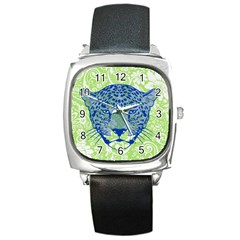 Cheetah Alarm Square Leather Watch by Contest1738807