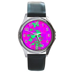 Butterfly Round Leather Watch (Silver Rim)